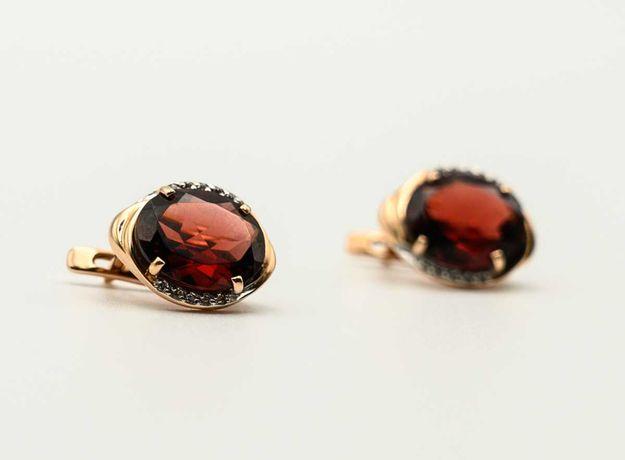 Золотые серьги с гранатом, красное 585 Россия «Ломбард Верный» А4298