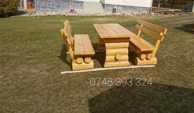 Set masa cu băncuțe lemn rotund  bușteni