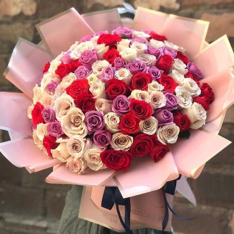 Доставка цветов,роз,в коробке по городу Алматы