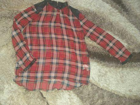 Модерна риза с кожени елементи