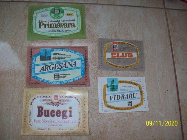 Vintage lot 5 etichete bere / eticheta bere veche comunista PITESTI