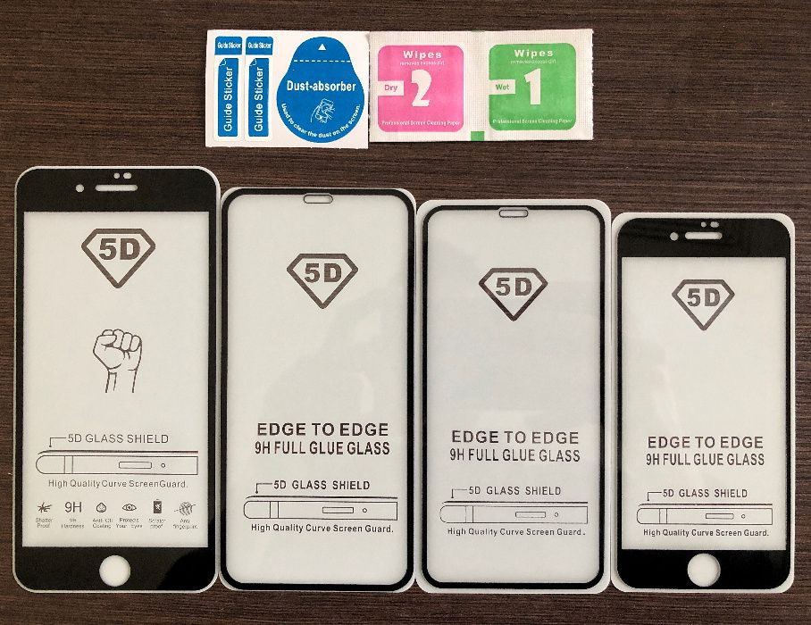 5D стъклен протектор цял екран Iphone 6,6S,7,8,Plus,X,XS,MAX,11, Pro