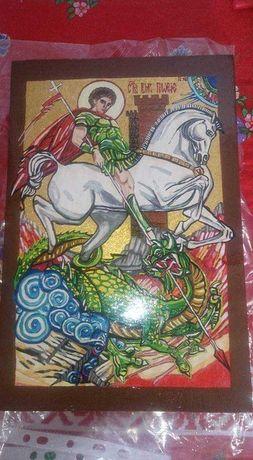 Ръчно рисувана Икона от дърво на Свети Георги А4