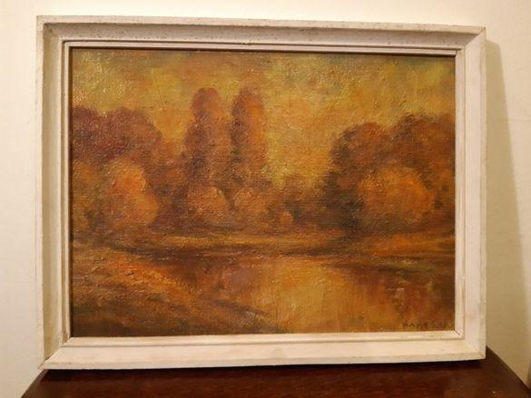 Стара маслена картина'Езеро в гората'' на художника Николай Илиев .