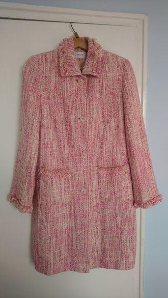 Розово стилно дамско палто букле М размер