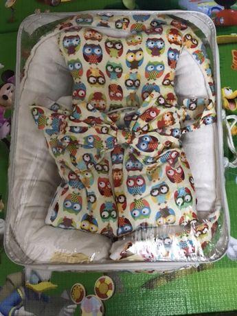 Гнездо кокон, плед-конверт для малыша+ортопедическая подушка