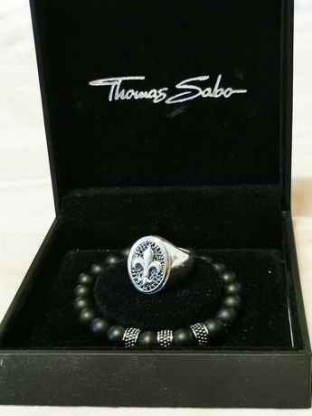 Thomas Sabo Set Inel + Bratara argint onyx , fashion , Original !!