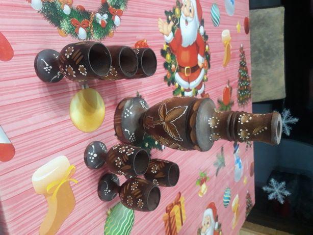 vand pahare si sticluta din lemn pentru colectie sau pasionati