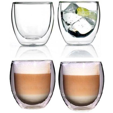 Тънкостенни чаши за кафе с двойно дъно и термо стъкло комплект 2 бр.