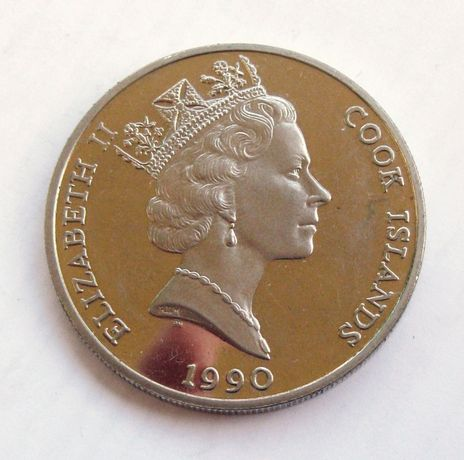 5 dolari 1990 moneda Cook Islands Regina Elisabeta