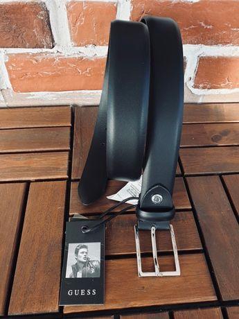 GUESS-95/105/115 см (М,L,XL)- мъжки черен колан от естествена кожа