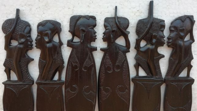 set tacamuri decorative abanos arta veche africana de colectie vintage