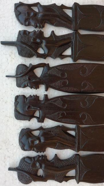 tacamuri din lemn abanos arta veche africana colectie statuete vintage