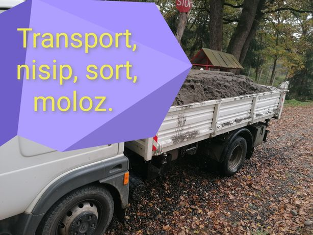 Transport marfă, moloz, nisip, pământ, sort, pietriș