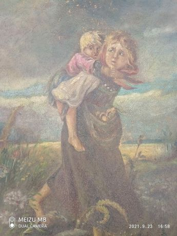 """Картина маслом на холсте репродукция """"дети убегающие от грозы"""""""