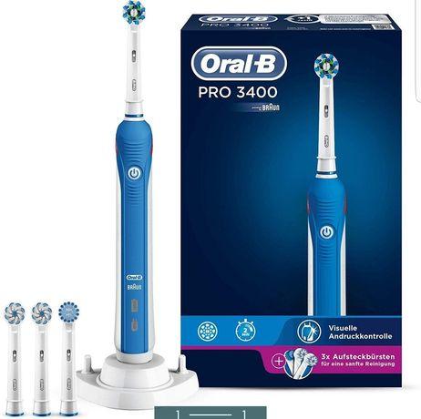 Periuta electrica Oral B PRO 3400, cu dock si 4 capete, 40000 pulsatii