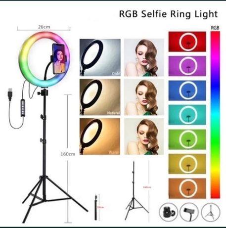 НОВО!!! LED RING RGB Bluetooth,Ринг Лампа цветна за селфи и грим