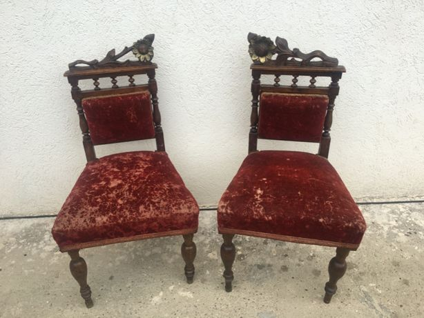 Deosebit set 2 scaune franceze,antice,originale anii 1920-1930,Belgia