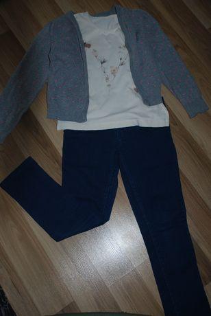 лот-дънки, жилетка и блузка - 128 см.