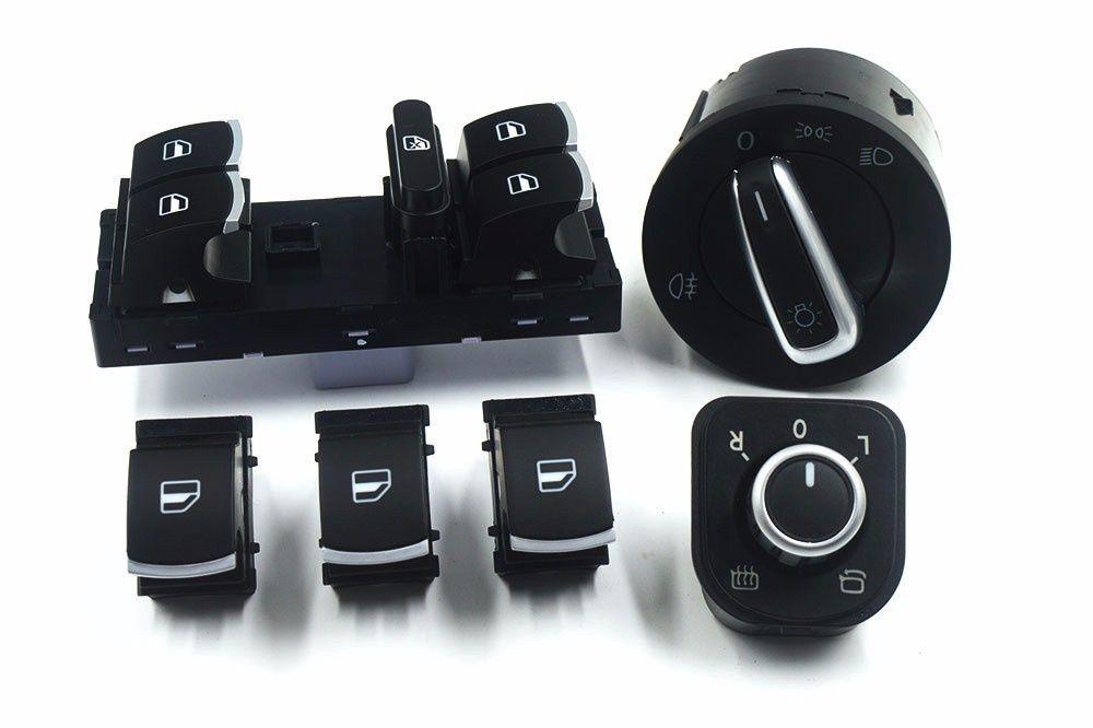 Set butoane gemuri electrice cromate Volkswagen Passat B6 Golf 5 Resita - imagine 1