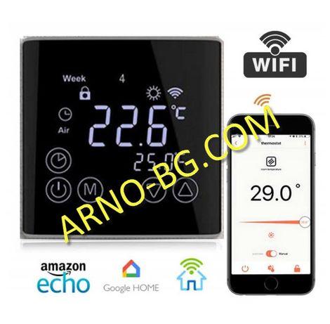Терморегулатор WiFi черен огледален LCD EDGE дисплей