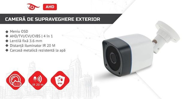 Camera video de supraveghere exteior Full HD 1080p si infrarosu 20 M