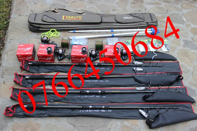 Set Complet Full Pescuit 4 Lansete Strong River 4 Mulinete Black Tena