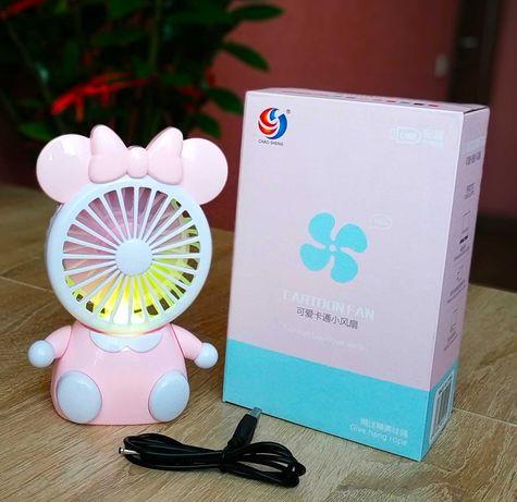 Ручной вентилятор аккумуляторный с подсветкой и регулировкой потока