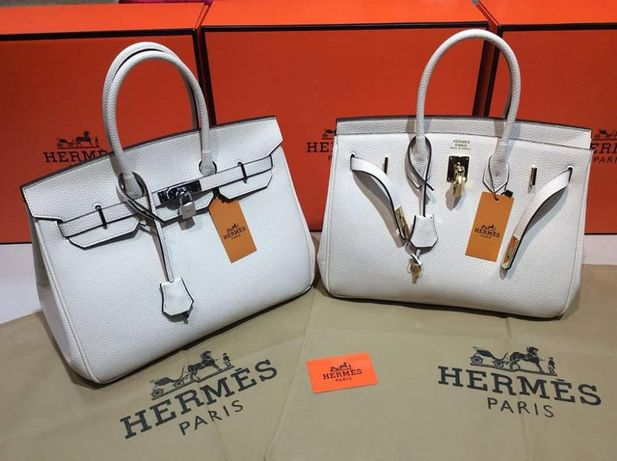 Genti Hermes(alb si negru)/saculet inclus,/accesorii metalice/Franta