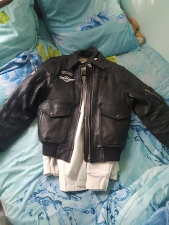 Пилот(бомбер)кожаная куртка из бычьей кожи