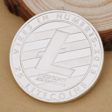 Criptomoneda-moneda virtuala litecoin-placat cu argint