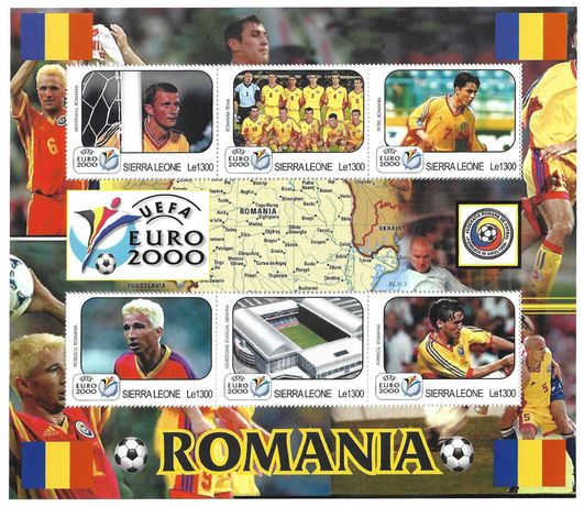 Super timbre colita nestampilata FOTBAL UEFA 2000 echipa ROMANIA