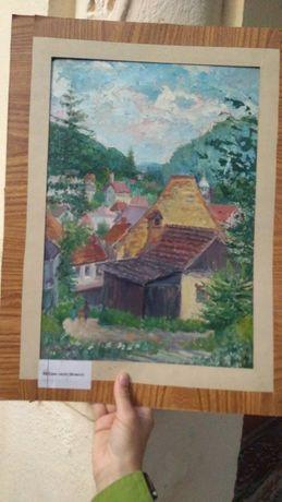 """ Case vechi Brașov "", tablou de colecție Maria Frânculescu, u/c, mare"