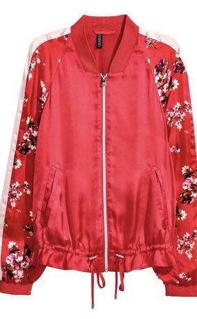 Geaca Jacheta H&M satin rosie fermoar Helanca imprimeu floral flori