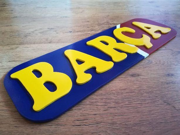 Inscriptie FC Barcelona Decor perete lemn 3d logo banner decoratiune