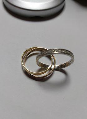 Inel 14k, tricolor,aur galben, roz si alb, cu 24 diamante naturale