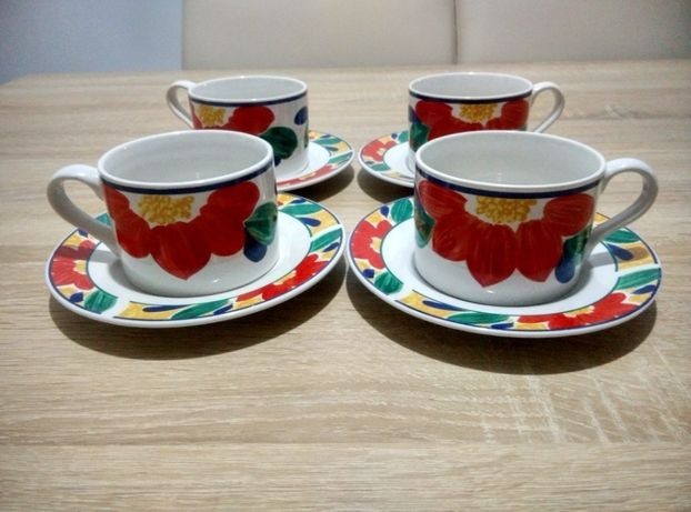 Set de cafea Gallery by Inhesion, viu colorat, motive florale