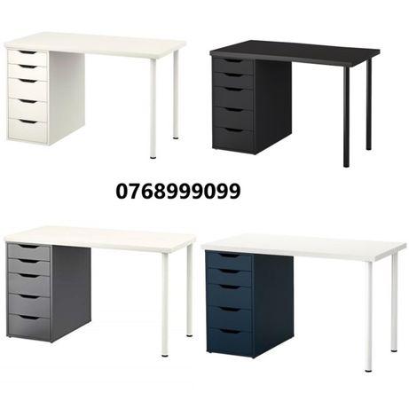 Masa birou manichiura profesionala 120x60 negru albastru alb