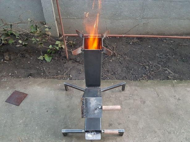 Soba/Arzator cu lemne tip racheta pentru gatit la disc, ceaun, plita