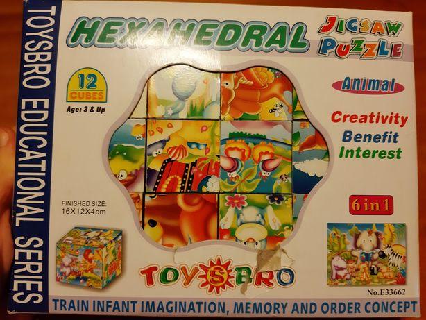 Puzzle 3D ,cuburi, 6 puzzle