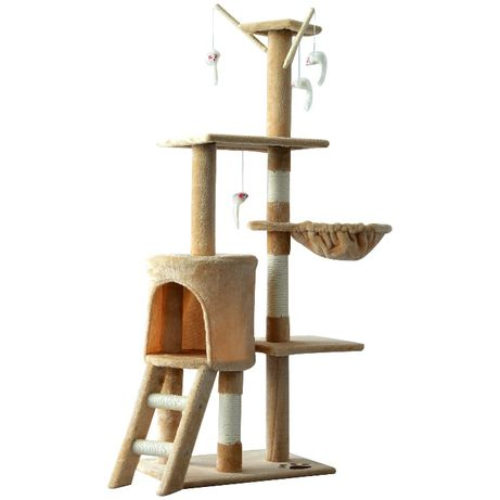 Котешко дърво 131 см с хралупа, хамак и играчки