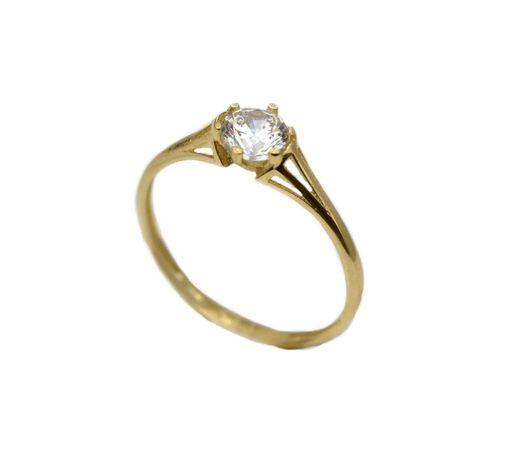 Inel aur galben logodna cu zirconia - DA302