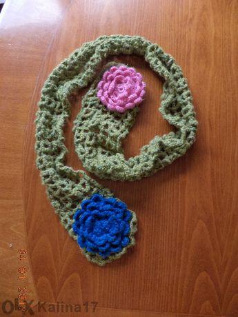 Есенно-пролетен шал с цветя и ръкавички без пръсти