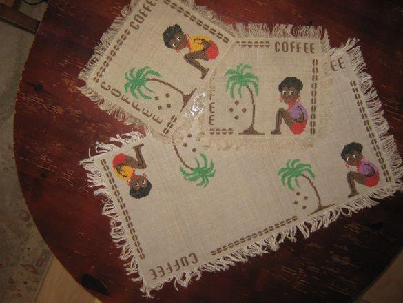 Комплект тишлайфер и 5 подложки за сервиране на кафе