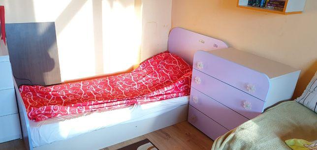 Mobilier copii - Pat cu saltea + Dulap + Comoda + Noptiera