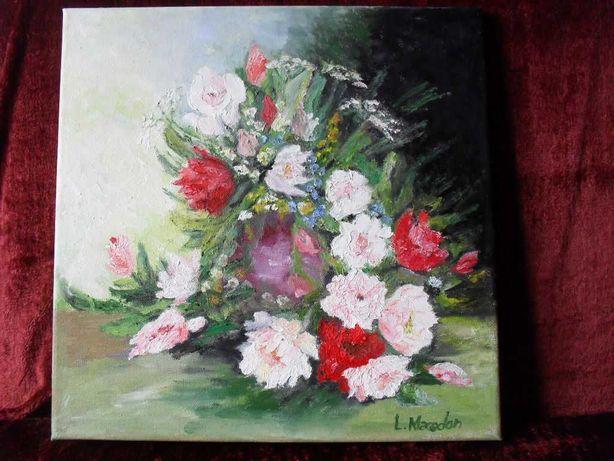 Vas cu flori 1-pictura ulei pe panza