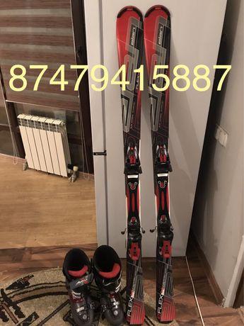 Горные лыжи с креплениями и ботинками 40-42размер новые не катались