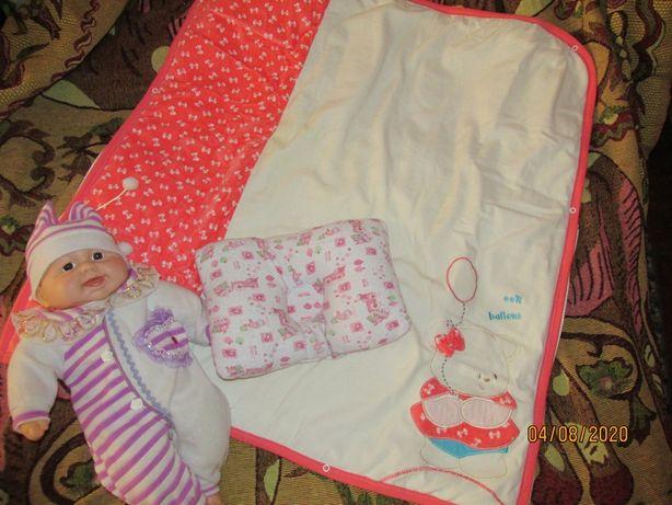 Очень нежное одеялко для малышки - конверт,  в подарок подушечка