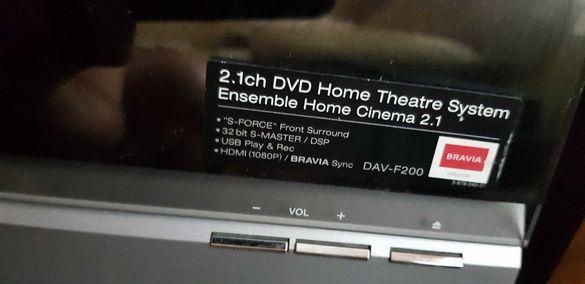 система за домашно кино  Sony DAV-F200 & активен Subwoofer SA-WSF200