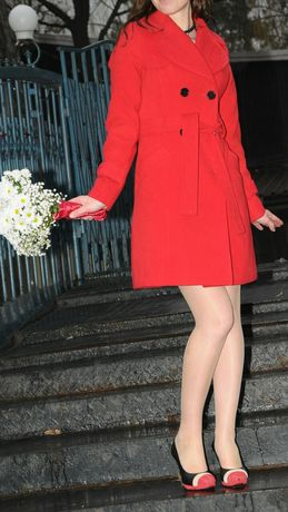 Palton rosu din lana, de la Top Shop